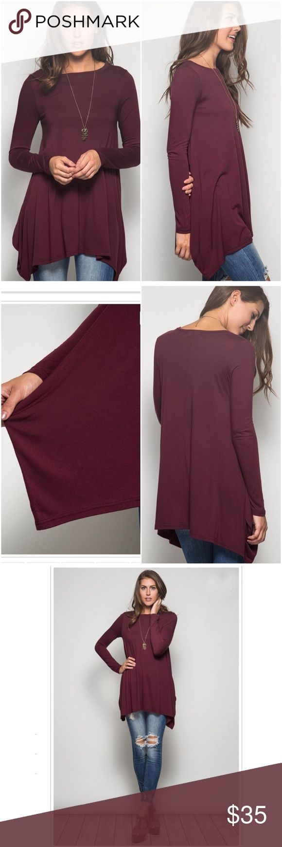 ⭐️$3.95 SHIP!⭐️NWT Burgundy/Wine Long Tunic Top NWT Burgundy/Wine Long Sleeved Tunic Top. The perfect versatile top for fall and winter! A rich burgundy color and flattering fit. Tunic length with longer cut sides. Fabric is Cotton/Rayon blend. Fits true to size, Small (0-4), Medium (6-8), Large (10-12). No Trades and No PaypalPRICE IS FIRM unless bundled. Also available in black. Tops Tunics