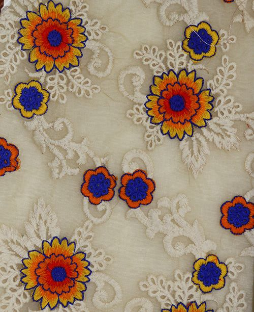 Multithread Multicolor Flowers Embroidery on Net Fabric per meter