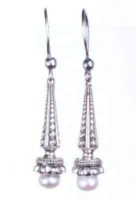 925 Ayar Gümüş İnci Taşlı Buket Tasarım Küpe