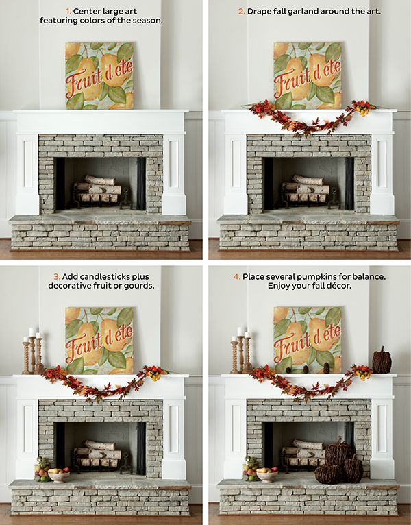 How to Decorate Your Mantel for Fall  I  via howtodecorate.com: Fall Decor, Fall Fireplace, Autumn Ideas, Mantel Shelving Inspiration, Seasonal Decorating, Decor Mantels Fireplaces, Gallery Photo Walls, 2 Fallmantel Steps
