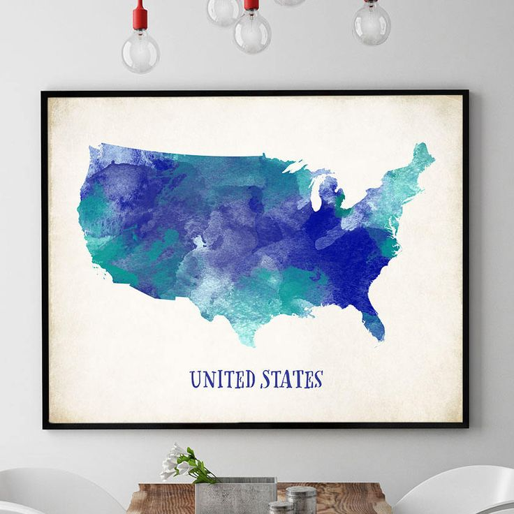 USA Map Wall Art, US Map Print, United States Map Poster, Map Of USA Painting, Watercolour Map, Home Decor, Travel Bedroom Wall Art (734) by PointDot on Etsy