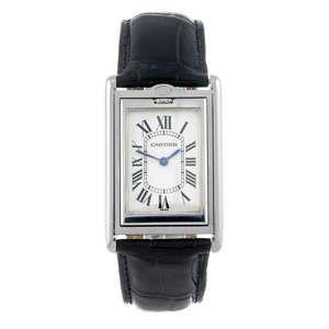 LOT:52 | CARTIER - a stainless steel Basculante wrist watch.