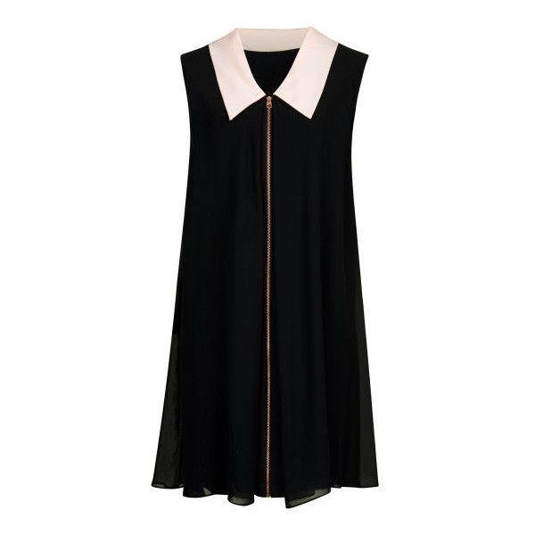 Reversible Collar detail tunic - Black | Dresses | Ted Baker UK ❤ liked on Polyvore featuring tops, tunics, dresses, reversible top, black top, black tunic, collar top and ted baker