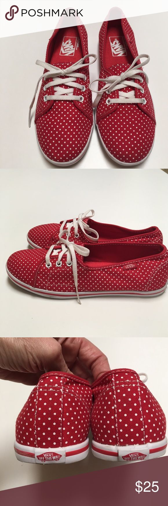 Vans LEAH Red polka dot sneakers Size 7 These have only been worn once. Very nice condition. Red with white polka dots. Marks ladies size 7. Please know how you fit in this brand. These are not my size. FINAL PRICE, for additional discount bundle. Vans Shoes Sneakers