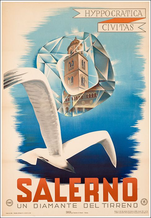 Vintage Travel Poster -  Salerno - Italy - Seagull - 1950.