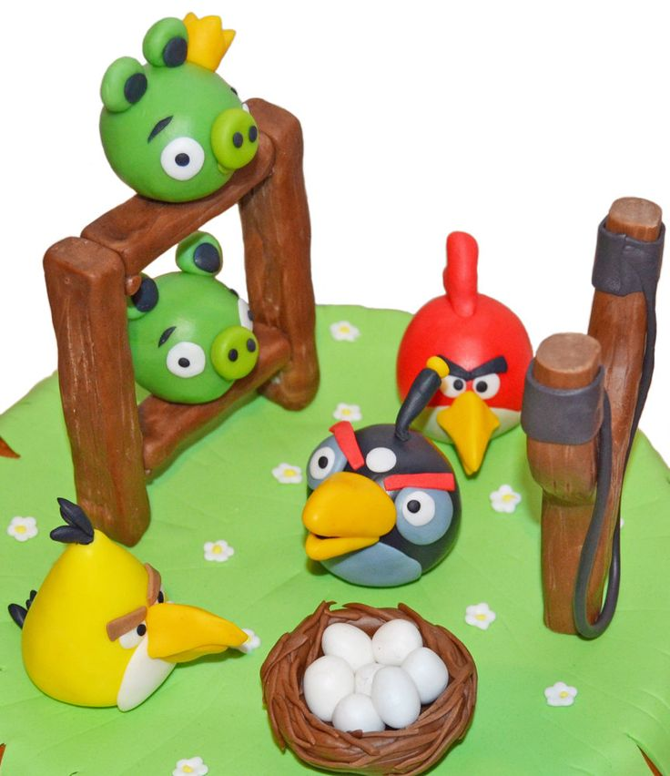 Angry Birds fondant cake topper set. Edible figurines of Angry Birds by 101cakes on Etsy