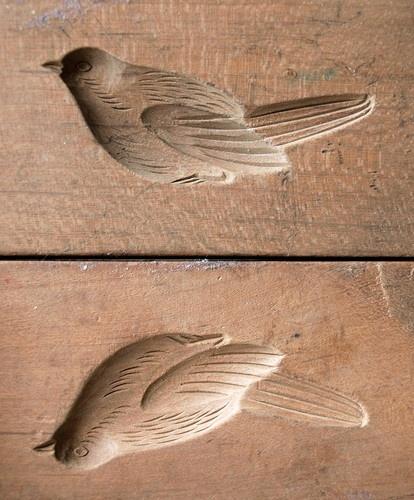 Japanese Meiji Antique 3D Kashigata Bird Bush Warbler Carved Wooden Cake Mold   eBay