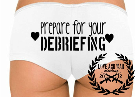 Prepare For Your Debriefing  Underwear Booty Shorts S M L XL Military Support. $14.00, via Etsy.