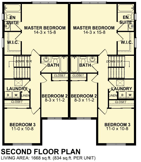 38 best duplex for small lot images on pinterest duplex for Side by side duplex plans