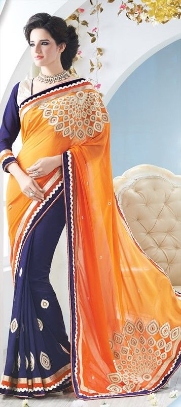 142461, Party Wear Sarees, Embroidered Sarees, Faux Georgette, Patch, Thread, Lace, Machine Embroidery, Blue, Orange Color Family