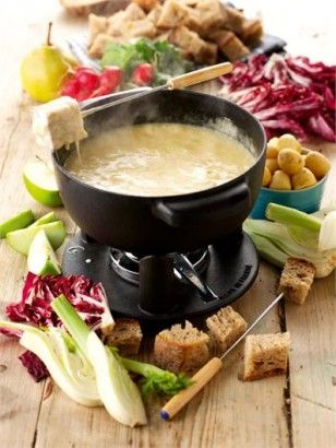 CHEESE FONDUE I don't suppose this is ever going to win plaudits from the World Health Organisation, but a cheese fondue is surely the stuff of dreams. On the plus side, health-wise, I love it best with radishes, chicory, spears of radicchio and carrots dipped in, but I don't know why I am trying to engage with that particular argument.