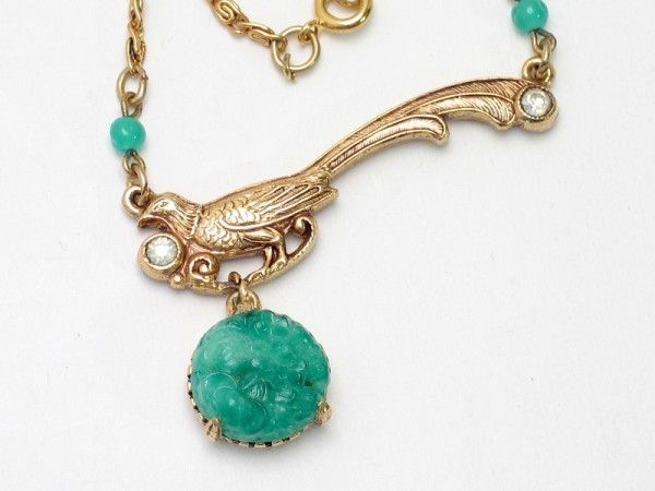 Florenza Pheasant and Jade Glass Pendant Necklace