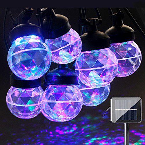 Epic ACRATO Projektionslampe LED Projektor Weihnachten Lampe Solar Lichterkette mit LED Kugellampe Wasserdicht f r