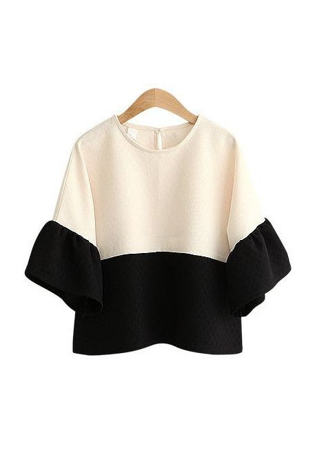 Goodnight Macaroon 'MONACO' CREAM WHITE BLACK COLOR BLOCK BLOUSE $69.00 USD