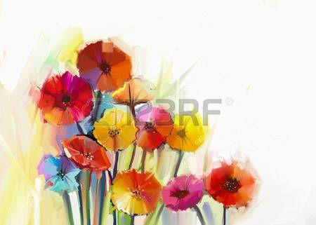 Stilleven van gele en rode gerbera bloemen Olieverf schilderij van een boeket bloemen. Hand geschilderde bloemen impressionistische stijl photo