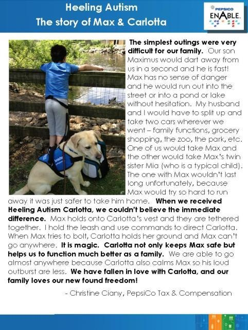 Amazing story of how Guiding Eyes Heeling Autism dog Carlotta has been able to help Max, a young boy with autism.