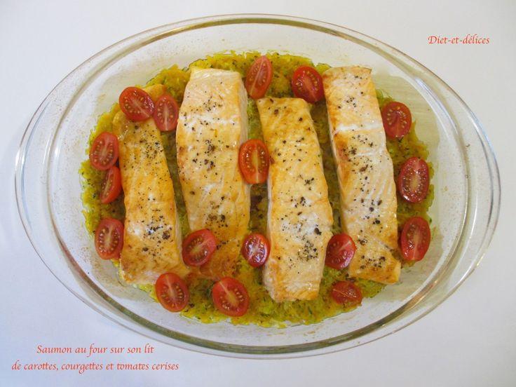 Saumon au four sur son lit de carottes, courgettes et tomates cerises : Diet & Délices - Recettes dietétiques