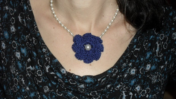spring crochet flower pearl necklace