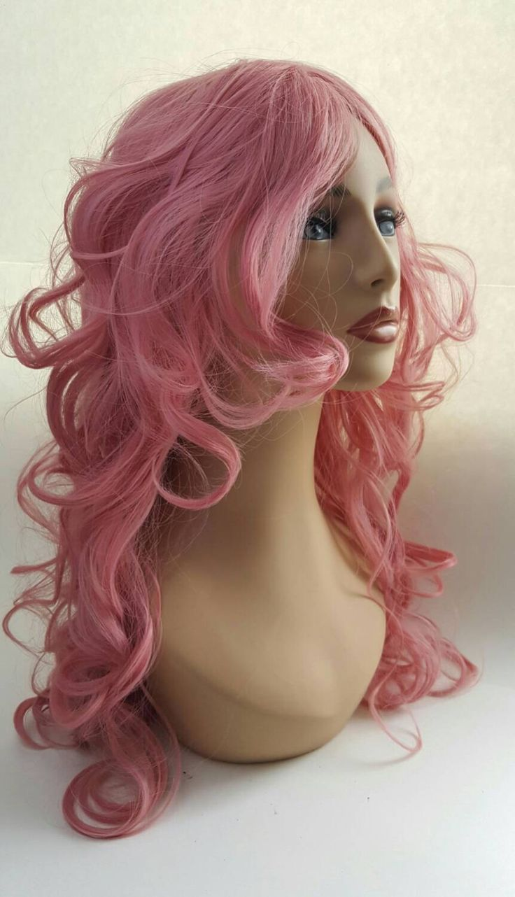 Long Curly Wavey Pink Wig, Pink Wig, Long Pink Wig, Long Layered Pink Wig, Long Face Framing Layers, Curly Pink Wig by FlourishDSDesigns on Etsy https://www.etsy.com/listing/285328713/long-curly-wavey-pink-wig-pink-wig-long