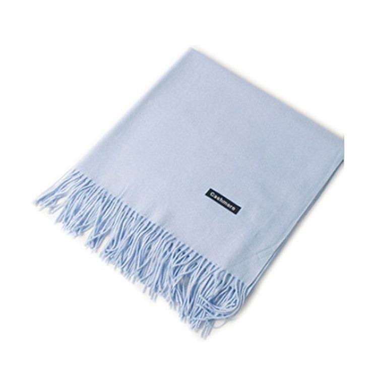 MMYOMI Frauen Männer Liebhaber Unisex glatt Kaschmir Schal 100% super weiche Plaid solide Pashmina Wrap Schal Schal (hellblau)
