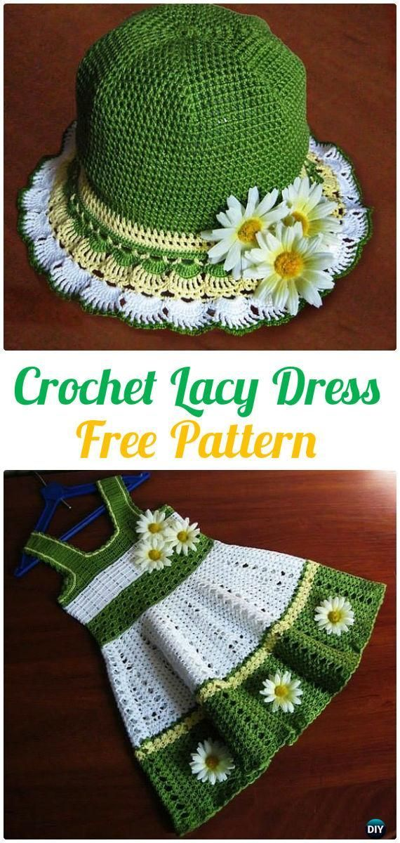 Crochet Lacy dress Free Pattern - Crochet Girls Dress Free Patterns | Dress your little one as festively as you are!