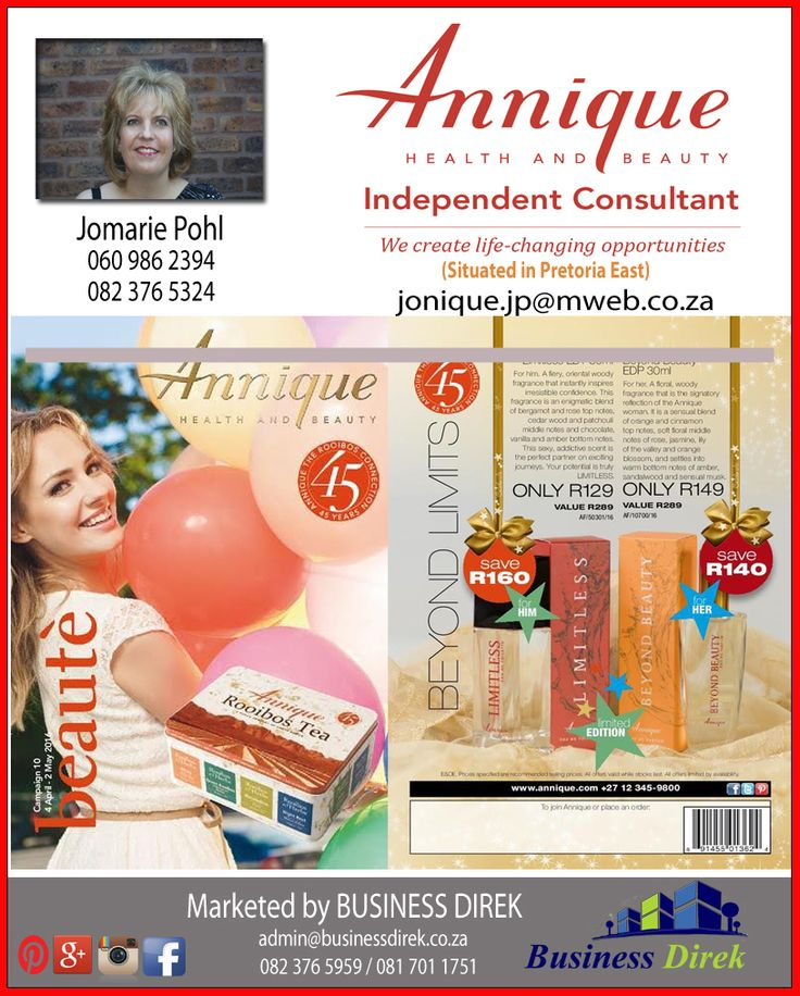 JONIQUE ROOIBOS - APRIL BEAUTE OUT NOW Independent Annique Consultant Jomarie Pohl - 082 376 5324 or 060 986 2394 http://www.businessdirek.co.za/jonique (Elarduspark, Pretoria)