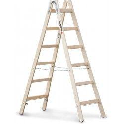 Stehleiter mit Eimerhaken Holz 2×14 Sprossen Leiter beidseitig begehbar