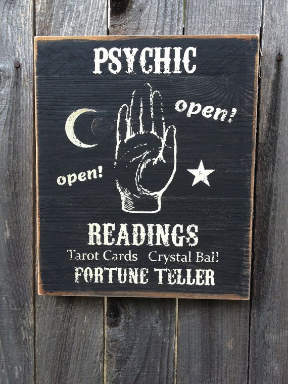 Psychic Tarot Cards Meanings: Psychic Readings Fortune Teller Wood Sign By