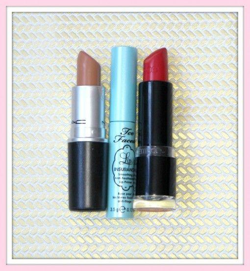 PRODUCTOS LABIOS      lip Insurance de Too Faced     Ultimate Color 260 de Catrice     Peach Stock de MAC