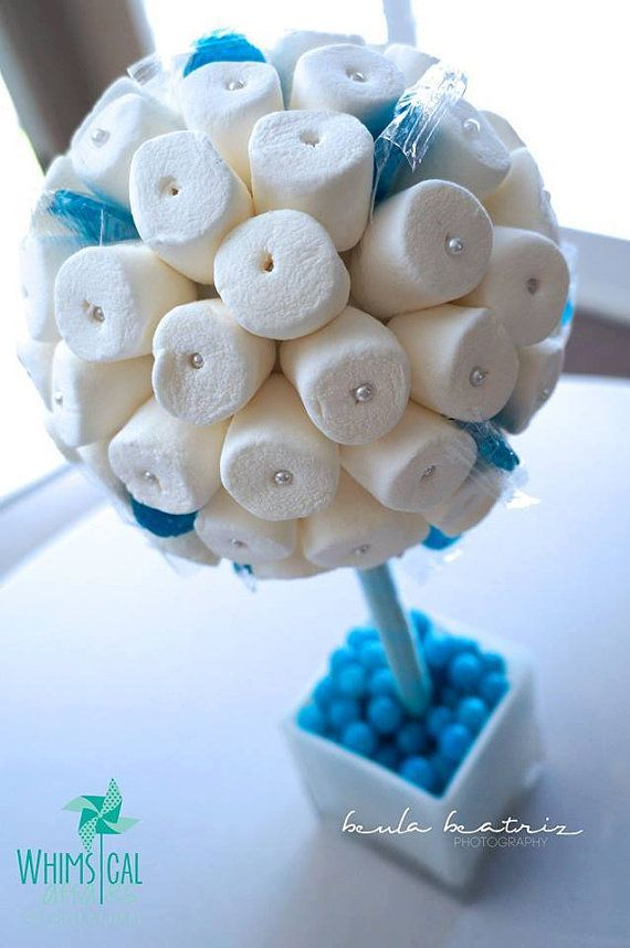 Blue, White, Teal, Tiffany Blue Marshmallow Lollipop Candy Land Centerpiece Topiary Tree, Candy Buffet Decor, Wedding, Mitzvah, Baby Shower