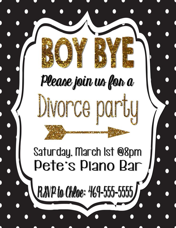 Divorce party invitation/Divorce black and gold/gold glitter/Polka dot invitation/ Boy bye invitation by PoshPaisleyPrints on Etsy