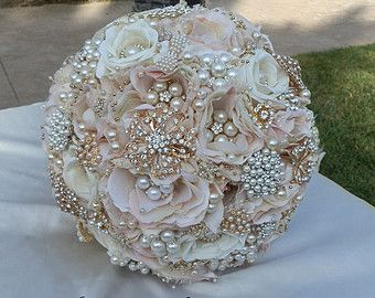 BLUSH PINK Brooch Bouquet - DEPOSIT for a Custom Blush and Ivory Bridal brooch Bouquet with all Silver Accents