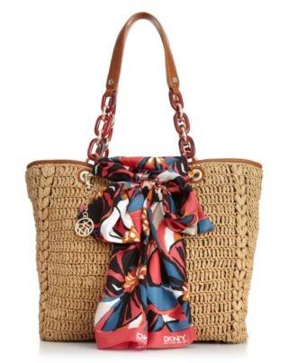 DKNY Handbag, Straw Shopper with Scarf