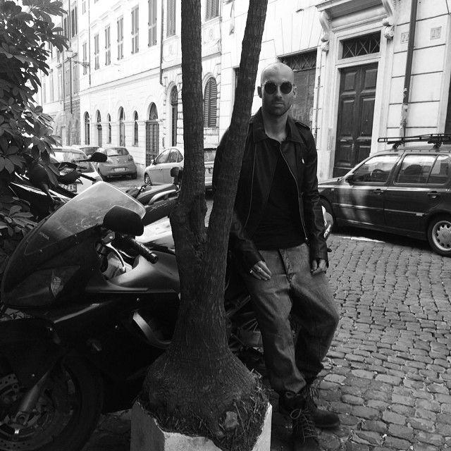 #leatherjacket#rickowens, #tshirt#rickoens, #jeans#drkshdwbyrickowens, #boots#shoto, #sunglasses#trussardi