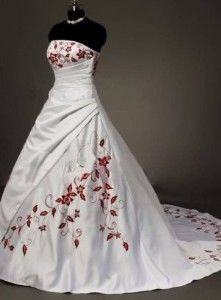 Red And White Flower Satin W Embroidered Flowers