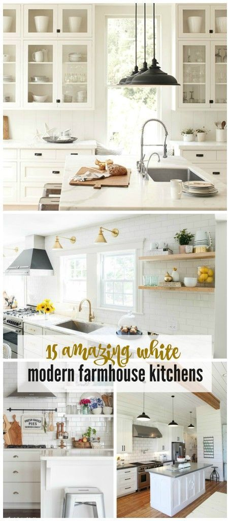 Home Decor. 15 Amazing White Farmhouse Kitchens - City Farmhouse