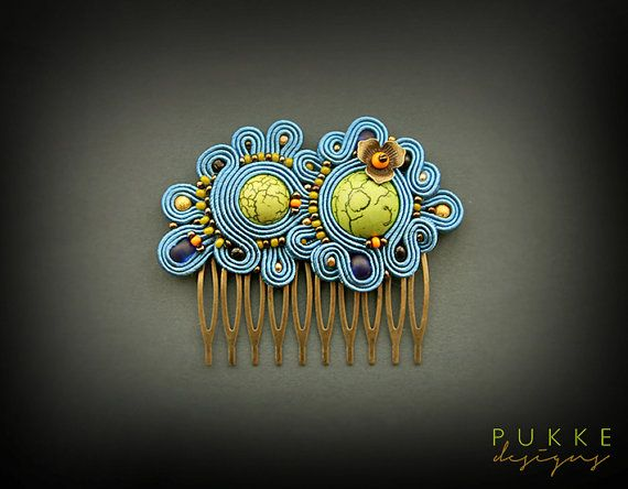 Sky blue hair comb Soutache hair accessory Embroidered by pUkke