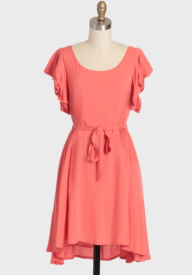 Westbury Gardenia Ruffle Dress In Coral | Modern Vintage New Arrivals