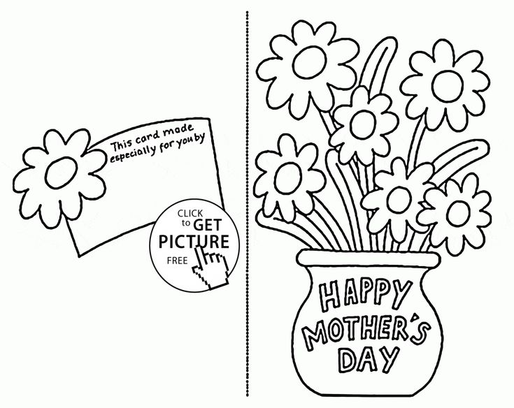 Card with Flowers for Mothers day coloring page for kids
