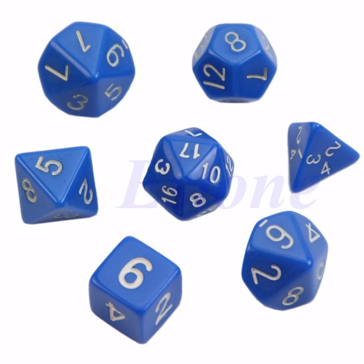 7pcs Sided Die D4 D6 D8 D10 D12 D20 DUNGEONS&DRAGONS D&D RPG Poly Dice Game #men, #hats, #watches, #belts, #fashion