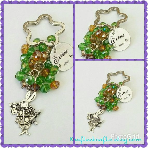 Sister beaded keyring, hand-stamped, beaded keychain, family gifts, gifts for sisters, quotes, Mother's day gifts, gifts for mums