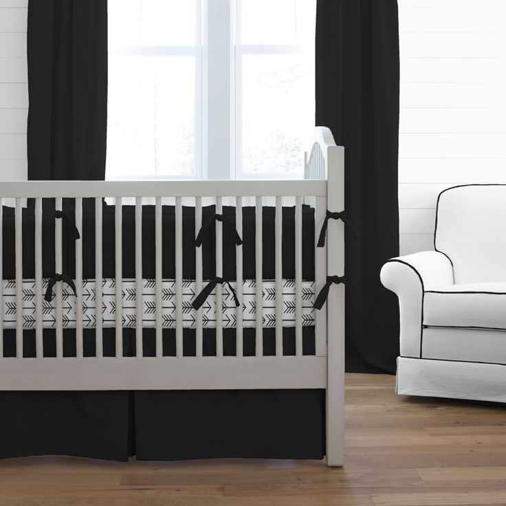 Solid Black Baby Crib Bedding Collection #carouseldesigns