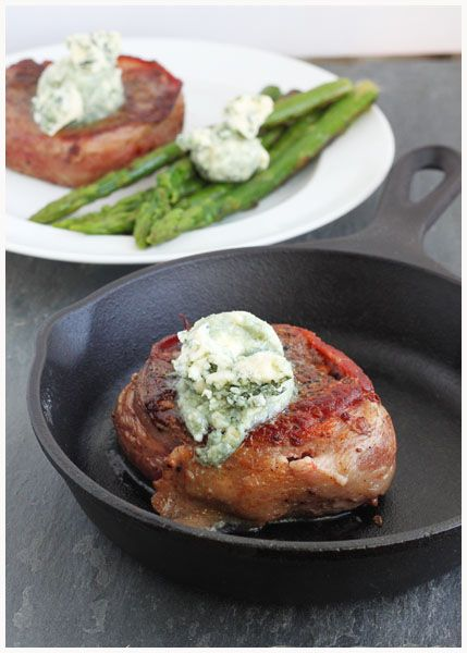 Filet Mignon with Bleu Cheese Butter, would be amazing with a buttery jasmine rice side & fresh green beans <3