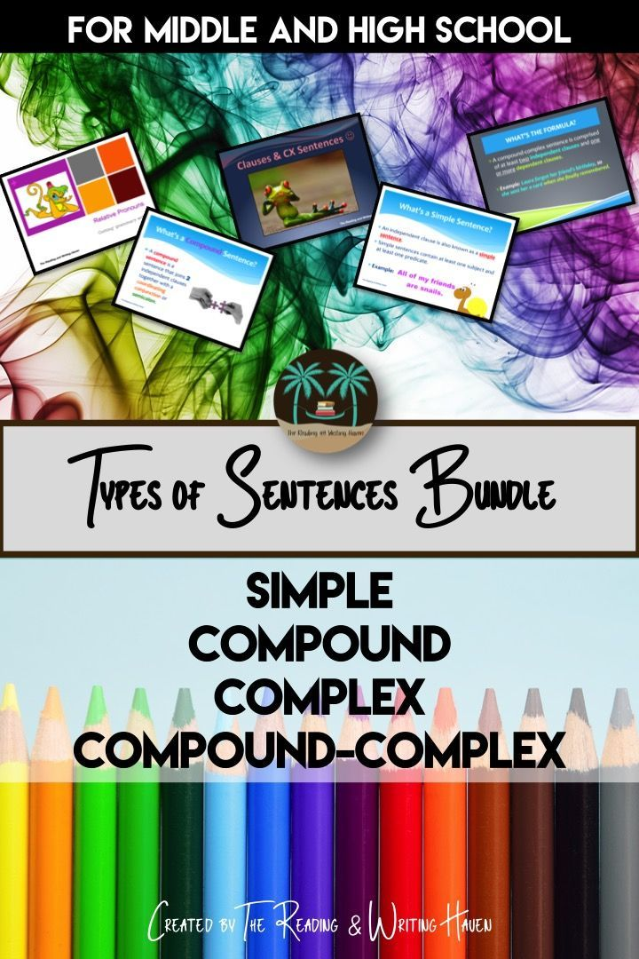 Mega teaching resource bundle for sentence types (simple, compound, complex, and compound-complex), including subordinating conjunctions and relative pronouns materials.