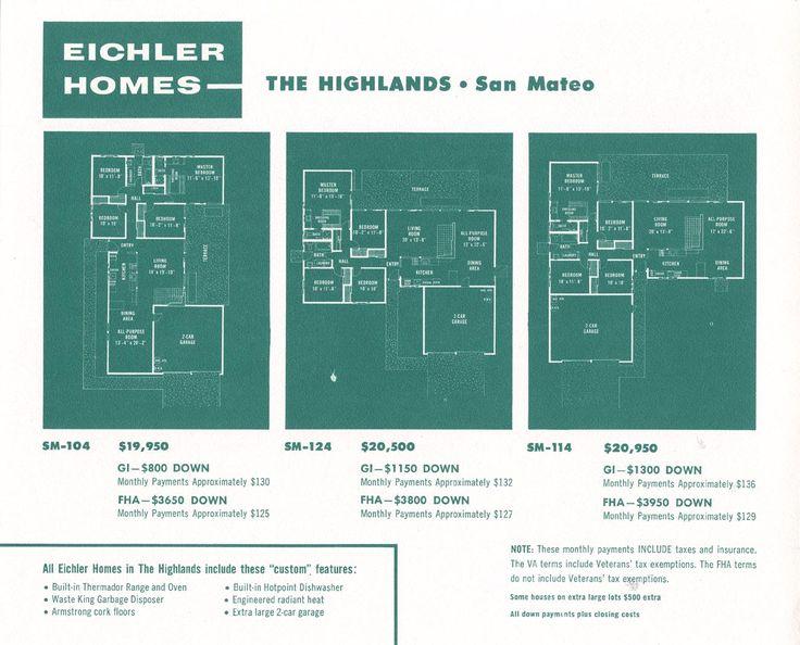 Eichler Floor Plans Sm 104 Sm 114 Sm 124 Midcentury