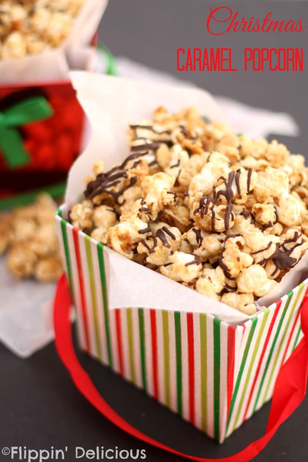 Christmas Caramel Popcorn with peanuts, coconut, and chocolate drizzled on top. Perfect for holiday gift giving! #TasteTheSeason #ad #cbias