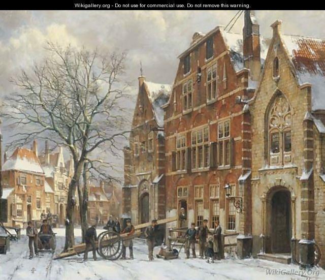 Winter daily activities on a sunny day in Oudewater - Willem Koekkoek