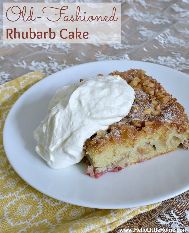 Old-Fashioned Rhubarb Cake | Hello Little Home #recipe #dessert