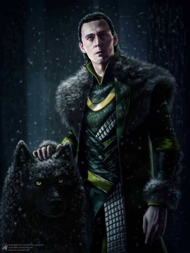 Loki: Fantasy Art, Loki Fans Art, Loki Laufeyson, Toms Hiddleston Loki, Avengers Loki, Loki Toms Hiddleston, Loki And Fenrir, Fenrir Lokison, Fenrir Art