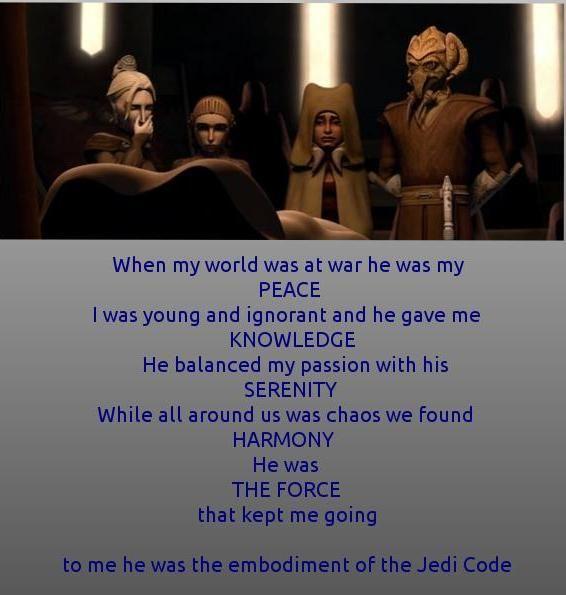 The unspoken eulogy of Satine Kryze when she thought she had lost Obi-wan Kenobi.